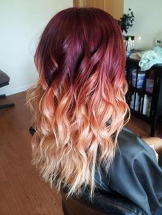 So ombre hair is probably 'dated' now.but I'm sorry this crimson t., So ombre hair is probably 'dated' now.but I'm sorry this crimson t. So ombre hair is probably 'dated' now.but I'm sorry this crimson through to peach is just beautiful. Dark Blonde Ombre Hair, Red To Blonde, Ombre Hair Color, Blonde Highlights, Ombre Style, White Blonde, Brown Blonde, Blonde Hair Red Roots, Red Hair With Blonde Tips