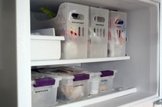 freezer storage -- label clear storage bins [these bins from Container Store: http://www.containerstore.com/shop/storage/openBinsBaskets/plastic?productId=10022942]