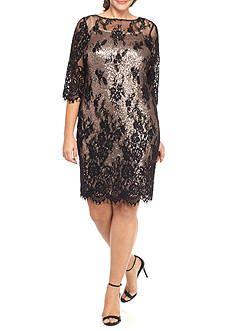 Marina Plus Size Lace Overlay Sheath Dress with Sequin Slip