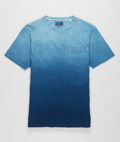 Hand dyed pocket t-shirt in a natural indigo from Blue Blue Japan. Each t-shirt has a unique look and will age beautifully. We suggest sizing up.