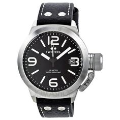 TW Steel Canteen Black Dial Stainless Steel Mens Watch TW2R. Stainless steel case with a black leather strap. Fixed stainless steel bezel. Black dial with silver-tone hands and stick hour markers with Arabic numerals at the 3, 6, 9 and 12 o'clock positions. Minute markers around the outer rim. Dial Type: Analog. Date display appears at the 3 o'clock position. Quartz movement. Scratch resistant mineral crystal. Push / pull crown with screw down canteen cap. Solid case back. Case diameter…