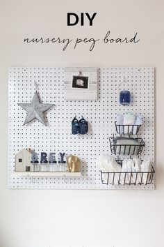 Organize and decorate your baby's nursery at the same time! This nursery peg board is a simple way to store diapers and other newborn essentials.