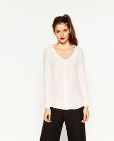 Image 2 of PLUNGING NECKLINE BLOUSE from Zara