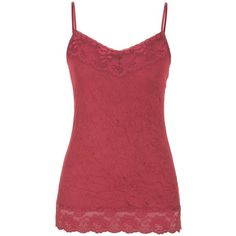 maurices Crinkle Cami ($15) ❤ liked on Polyvore featuring intimates, camis, deep cranberry, maurices, lace camisole, layering cami, lace cami and lace trim cami