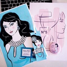 On my desk: #beautiful ladies for Anne heading to #Singapore today. Farewell!  #illustration #print #woman #lady #art #design #instaart #pretty #mirror #bookmark #chanel #perfume #blue #pink fashion #style #fashionillustration #modern #mywork #today #creative #onmydesk #jewellery #beauty #stylish #hair #dress