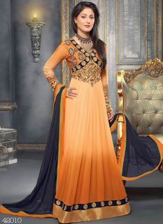 Buy #HeenaKhan light orange #anarkalisuit with 16% discount