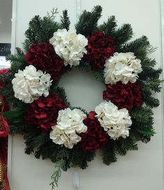 Floral Design, Christmas Red & White Hydrangea Wreath, 2013, Designed by Renee Corbin: Michael's of Waynesville, NC