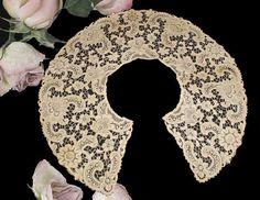 Large Antique Cotton Schiffli Lace Bertha Collar  by PruAtelier