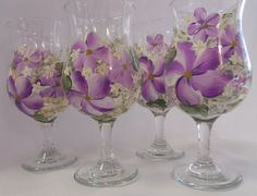 Hand Painted Hurricane Glass 4  Spring Garden  by EverMyHart, $49.95