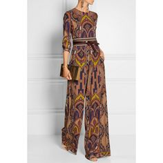 Etro Printed stretch-crepe jumpsuit (32.206.750 IDR) ❤ liked on Polyvore featuring jumpsuits, jump suit, multi colored jumpsuit, wide leg jumpsuit, colorful jumpsuit and multi color jumpsuit