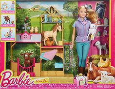 It's farming fun with this complete Barbie farm vet play set! Seven adorable animal patients are included -- a calf, lamb, pony, baby goat, chicken and two chicks! Designed with authentic details, the barn structure features a swinging gate, shelves for accessories, a spot to examine the animals and signature style, like a Barbie silhouette on the weather vane