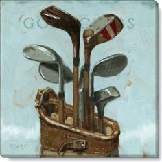 Golf Clubs - Medium - Wall Canvas Golf Set 285-M-1414   Darren Gygi