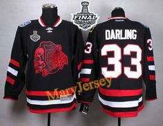 Only $34.88 please email me at maryjerseyelway@gmail.com for Blackhawks 33 Scott Darling Black(Red Skull) 2015 Stanley Cup Stitched NHL Jersey