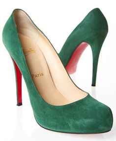 Christian Louboutin , green suede heels.....