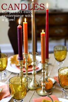 Candles are the easiest way to create a simple centerpiece with a glow!