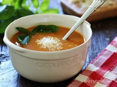 This creamy, rich crock pot tomato soup is made in the slow cooker with tomatoes, herbs, milk and Pecorino Romano cheese, plus the cheese rind for added flavor. Raw Food Recipes, Mexican Food Recipes, Freezer Recipes, Freezer Cooking, Drink Recipes, Cooking Tips, Cooking Light Recipes, Skinny Recipes, Soup Recipes