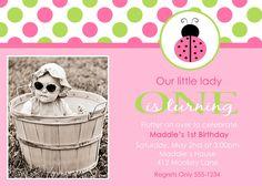 Ladybug Lady Bug Photo Birthday Party Invitations DIY - You Print - Digital File - Any Colors - Any Age. $9.99, via Etsy.