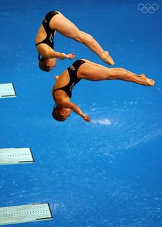 Briony Cole and Sharleen Stratton from Australia compete in the Women's Synchronized 3m Springboard Final event held at the National Aquatics Center during day 2 of the Beijing 2008 Olympic Games on August 10, 2008 in Beijing, China.