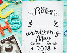 Printable Pregnancy Announcement, Arriving in May 2018, We're Pregnant Card, Exciting News, Pregnancy Reveal, Baby Announcement