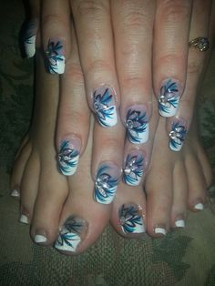 Blue black white silver rhinestones French tip nail designs art