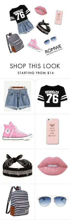 """Romwe♡♡"" by adelinutz ❤ liked on Polyvore featuring Boohoo, Converse, Fallon, Lime Crime and Christian Dior"