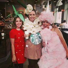 Cute and easy Halloween costumes! Strawberry (red dress with seeds added and a green construction paper hat/leaves), Starbucks Frappuccino (felt green straw on paper towel roll, ruffled felt whipped cream, tan trench coat and logo belt) and cotton candy (buffalo snow/batting spray painted pink and glued to an old dress, white paper rolled into cones with batting glued to it for hat and prop).