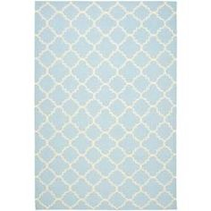 @Overstock - Morrocan inspired design and dense hand-woven wool pile highlight this handmade dhurrie rug. This floor rug has a light blue background and displays stunning panel color of ivory.http://www.overstock.com/Home-Garden/Moroccan-Light-Blue-Ivory-Dhurrie-Wool-Rug-8-x-10/6372309/product.html?CID=214117 $342.99