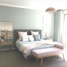 Modern bedroom design in pastels - white, gray, green, blue, and blush pink - Bedroom Ideas & Decor Home Bedroom, Bedroom Design, Bedroom Styles, Interior Design Bedroom Teenage, Interior Design Bedroom Small, Interior Design Bedroom, Bedroom Decor, Home Decor, Apartment Decor