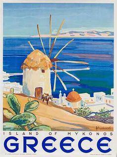 Island of Mykonos Greece Original Travel Poster, 1949