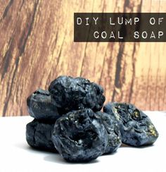 Create your own DIY Santa's lump of coal soap with this easy homemade soap recipe to gift as a homemade gag stocking stuffer gift this Christmas.