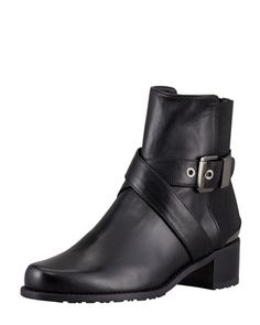 Manlow Stretch-Back Buckled Ankle Bootie by Stuart Weitzman at Neiman Marcus.