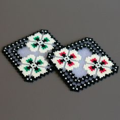Coasters handmade of ironed beads - inspired by Slavic Embroideries by Leminussieu