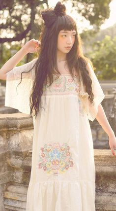 Fashiontroy  Mori girl sleeveless beige embroidered cotton midi dress
