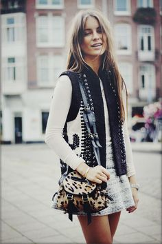 There's something about vests, mini skirts, and animal prints like this that make me think of all things Bohemia...