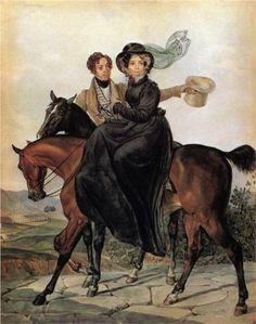 Portrait of K. A. and M. Ya. Narishkin, 1827, by Karl Pavlovich Bryullov (Russian, 1799-1852)