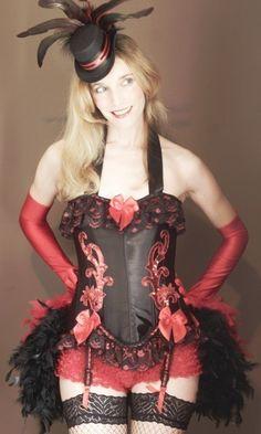 RED SONJA  Black Corset Burlesque Costume Valentines by olgaitaly, $185.00