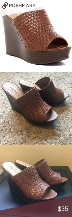 """Zigi Soho Lillia Wedges Woven brown wedges by Zigi Soho. Man made sole and synthetic leather upper. The only sign of wear is a scratch in the front of the right shoe.  True to size 8.  Wedge height: 4.5"""" Platform height: 1"""" Zigi Soho Shoes Sandals"""