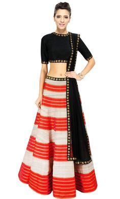 "Unnati Women's Designer Lehenga Choli With Elegant Embellishment X-Large - 40"" Multicolor"