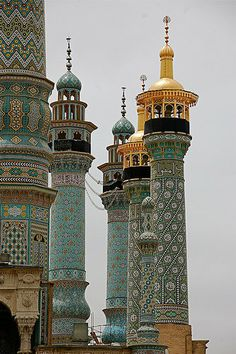 The shrine of Fatema Mæ'sume (sister of Imām ʻAlī ibn-Mūsā Riđā) is located in Qom which is considered by Shia Muslims to be the second most sacred city in Iran after Mashhad. Much of the shrine complex was first built by Shah Abbas I in the early 17th century