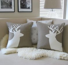 Deer Pair Decorative Pillow Covers, Sand Beige & Cream Appliqué Buck Silhouettes, 18x18, Antlers, Woodland Decor, Rustic Chic, Luxe Lodge