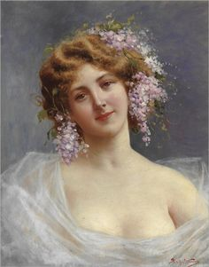 Achille Beltrame (1871-1945) Lady with lilies