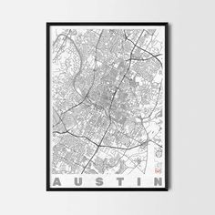 Austin art prints -Art posters and prints of your favorite city. Unique design of a map. Perfect for your house and office or as a gift.