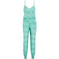 Paloma Blue Laguna printed washed-silk jumpsuit ($275) ❤ liked on Polyvore featuring jumpsuits, jade, blue jumpsuit, multi color jumpsuit, blue jump suit, multi colored jumpsuit and silk jumpsuit