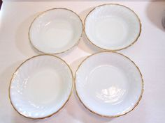 Fire King White Swirl Gold Anniversary Soup Salad Bowls Lot of 4