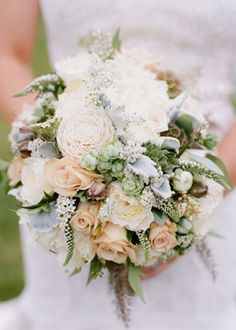 Bouquet Inspiration: engagement, floral, bouquet, flowers, carnation, peony, queen anne's lace, rose, real, bouquets, cream, green, peach, rustic, Spring, classic,