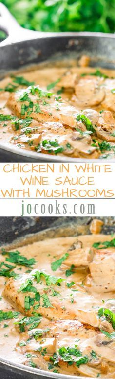Chicken in White Wine Sauce with Mushrooms - a simple yet  elegant dish. Chicken breasts in a delicious creamy mushroom sauce made with white wine and cream.