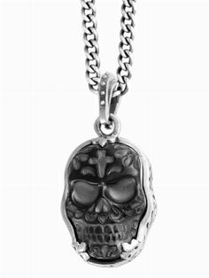 Carved Jet Day of the Dead Skull in a #Benzel Setting #Pendant KING BABY STUDIO - OFFICIAL SITE
