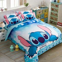 Kids& Duvet Cover Sets - MeMoreCool Classic Cartoon Characters Blue Stitch Bedding Cotton Boys and Girls Duvet Cover SetSoft FlatFitted Sheet Set * Continue to the product at the image link. Stitch Disney, Lilo E Stitch, Cute Stitch, Girls Duvet Covers, Duvet Cover Sets, Lelo And Stitch, Lilo And Stitch Quotes, Blue Bedroom Decor, Disney Bedrooms