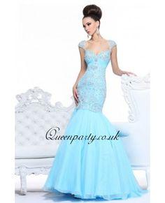 Light Blue Cap Sleeve Mermaid Long Prom Dress With Beading