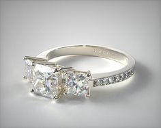 14k White Gold Three Stone Pave Set Diamond Engagement Ring | 11180W14 - Mobile                                                                                                                                                     More
